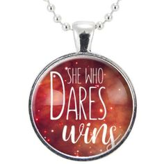 She Who Dares Wins Necklace ($15) ❤ liked on Polyvore featuring jewelry, necklaces, pendant jewelry, ball chain necklace and pendant necklaces