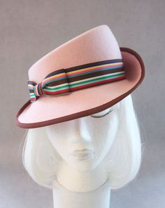 Pink 1940s-style fedora. Asymmetrical vintage-inspired tilt hat. By Silverhill Creative Millinery.