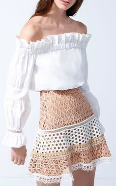 Alexis Larissa Flared Skirt $460, White Elen Off The Schouder Top $265