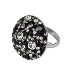 Schmuck-Design24 -  Ring black curl 925 Sterling Silber rhodiniert mit Kristallsteinen Größe Ø ca. 25 mm