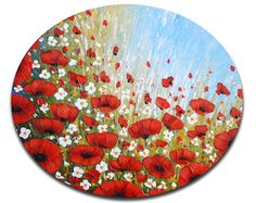 Textured wall art Red poppies painting yellow abstract art