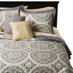 Medallion Venice 5 Piece Quilt Set. What I got of our bedroom. Yay! A bit too much grey, but still good.