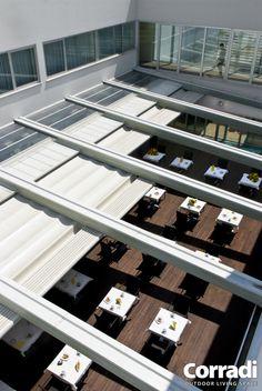 Pergola With Retractable Roof Key: 7485573187 Corner Pergola, Backyard Pergola, Outdoor Pergola, Porches, Pergolas For Sale, Modern Pergola, Pergola Lighting, Pergola Designs, Terrazzo