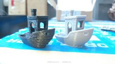 These two #3DBenchy boats where printed on the same 3D printer from the same print file (thus having the exact same settings). The only difference is that the right #3DBenchy was made after the printer had it's PLA cooling fan improved.    The regular artefacts on the right #3DBenchy are a symptom of a mechanical backlash the 3D printer suffers from.  Learn more about #3Dprinting at http://3DBenchy.com