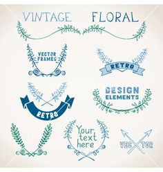 Set of vintage page decorations with floral vector. Floral borders  by AlexVectors on VectorStock®