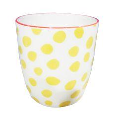 Summer ceramics from &K Amsterdam. Yellow Interior, Linen Bedding, Amsterdam, Ceramics, Mugs, Interior Design, Tableware, Fabric, Summer