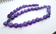 "14""--Genuine Amethyst 10mm Heart Shaped Loose Beads-- full Strand-- 37 beads  #Spacer"