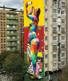 "OKUDA, ""African Housewife Independence"" for Milestonegirona in Girona, Spain, 2017 Street Mural, Street Art Graffiti, Stencil Graffiti, Okuda, International Artist, Outdoor Art, Street Artists, Types Of Art, Public Art"