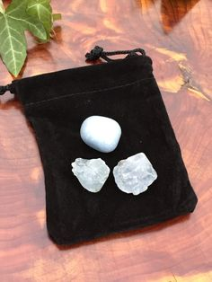 Crystal Energy Medicine Bag Angels & Spirit Guide Connection Angelite & Celestite Reiki Charged Stones
