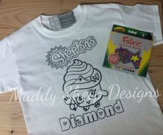 So fun and makes a great gift! Coloring Book t-shirt and fabric marker combo.  Other designs available.. just ask!  Shopkins