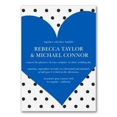 Blue and White Wedding Ideas - Love the Dots - Invitation (Invitation Link - http://occasionsinprint.carlsoncraft.com/Wedding/Wedding-Invitations/3254-TWS39838-Love-the-Dots--Invitation.pro)