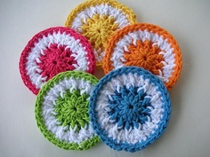 Scrubbie Dots ~ can be used on dishes or as facial scrubs.  Worked in FPDC, textured on both sides.  Nice basis for expanding on.   . . . .   ღTrish W ~ http://www.pinterest.com/trishw/  . . . .   #crochet #circle #motif