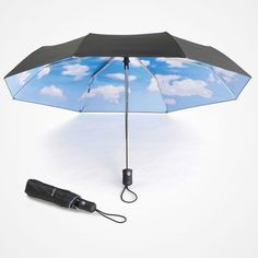 Sky Umbrella // Humor and surprise are two of the designer Tibor Kalman's hallmarks, as witnessed by this view of a blue sky on a most probably gray day. MoMA's witty umbrella with an eternally cheerful sky is known and enjoyed throughout the world.