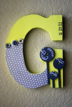 Large Nursery Wall or Table Monogram Letters by LolaMonkey on Etsy, $35.00