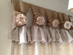 Burlap/Linen wide ruched tabs curtains- Tea dyed roses