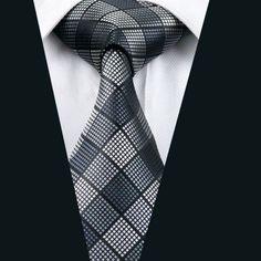 New Men`s Tie 100% Silk Plaid Jacquard Woven Necktie For Men Formal Wedding Party Business