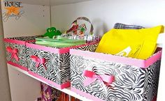 cute storage bin ideas for hall closet maybe?  Using duct tape!  Easy peasy
