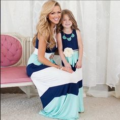 "Women's/Girl's ""The Little Lady"" Matching Mother + Daughter Light Weight Casual Striped Maxi Dress"