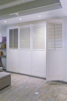 Custom made cupboards white shutters / claustra - curtain Placard Design, Closet Door Alternative, Door Alternatives, White Shutters, Bedroom Cupboards, Closet Doors, Wall Treatments, Home Decor Bedroom, Modern Interior