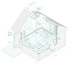 kitchen house. Isometric section 1:25