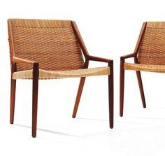 AXEL BENDER MADSEN ET EJNER LARSEN Paire de fauteuils en rotin tressé et teck   Edition Willy Beck, vers 1962    Pierre Bergé & Associés