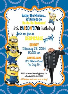 Custom Despicable Me 2 Birthday Invitation Photo Can be Added