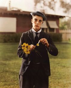 Buster Keaton . Rare color 1920s photo