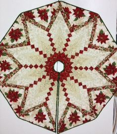 Pretty Paper Christmas Trees -- I want to make some for my tree. Diy Christmas Tree Skirt, Christmas Tree Skirts Patterns, Xmas Tree Skirts, Christmas Patchwork, Christmas Crochet Patterns, Christmas Sewing, Christmas Projects, Christmas Quilting, Christmas Bells