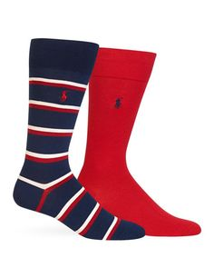 Polo Ralph Lauren Double Bar & Solid Socks, Pack of 2