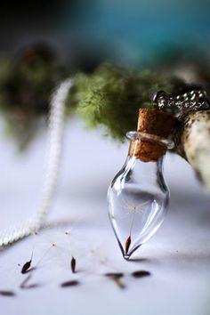 Real dandelion necklace, Dandelion seeds, make a wish, Wish bottle, botanical specimen, nostalgic gift, good luck charm, gift for bride