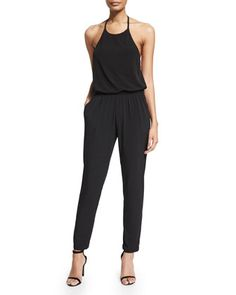 Halter Blouson Jersey Jumpsuit, Black by Karla Colletto at Bergdorf Goodman.