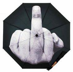 Novelty Fashion Gift Middle Finger Folding Sun And Rain Umbrella BLACK