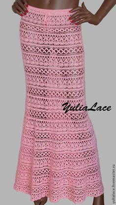 Купить или заказать Вязаная юбка 'Нежно-розовая' в интернет-магазине на Ярмарке Мастеров. Юбка связана крючком из 100% хлопка. Размер 44. Длина 96 см. Возможно выполнение в другом цвете и любого размера. Без подкладки.