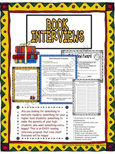 Reading: Book Interview Program from Horner's Dugout on TeachersNotebook.com -  (20 pages)  - Are you looking for something to motivate readers; something for your higher level students; something to make your parents of your high students, who want something extra, happy? This will help!