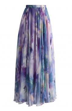 Dancing Watercolor Floral Maxi Skirt in Violet - Maxi Skirt - Trend and Style - Retro, Indie and Unique Fashion
