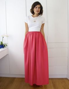 DIY Weekly - Jil Sander Inspired Bright Pink Maxi Skirt
