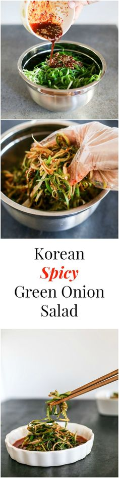 Korean Spicy Green Onion Salad. This salad is the most well-known Korean BBQ salad. It pairs very well with non-marinated meat (e.g. Korean pork belly) | MyKoreanKitchen.com #greenonion #salad #koreanfood #koreanrecipes #koreanbbq