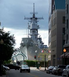 The battleship USS Wisconsin makes a very intimidating backdrop, at the end of this street in Norfolk, Virginia.