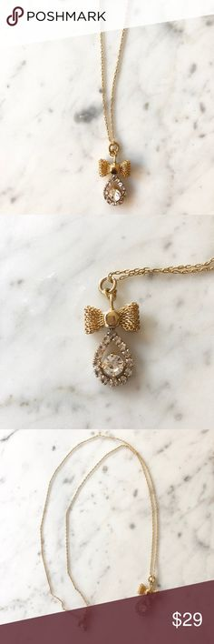 "J. Crew Bow Crystal Pendant Necklace J. Crew pendant necklace with a sweet bow and crystal teardrop on a delicate chain.  Approx measurements:  27"" long  1"" height pendant J. Crew Jewelry Necklaces"