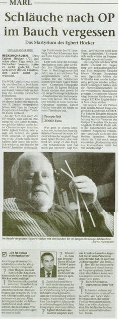 Marler Zeitung vom 20.10.2012 - Schläuche nach OP im Bauch vergessen - Rechtsanwaltskanzlei Sabrina Diehl