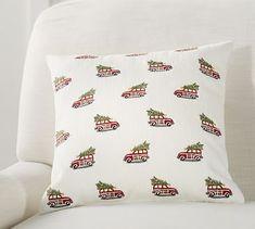 """Mini Woody Car Crewel Pillow, 16"""", Multi"""