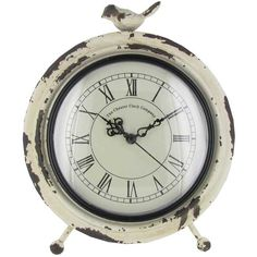 Antique White Metal Table Clock with Bird on Top
