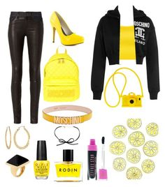 """""""yellow"""" by isobelle206 ❤ liked on Polyvore featuring Moschino, WearAll, rag & bone, Michael Antonio, Fragments, Rodin, OPI and Kenneth Jay Lane"""
