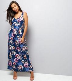 Mela - Robe longue bleu marine à col V et imprimé floral | New Look