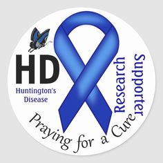 Shop Huntington's Disease HD Awareness Research Support Classic Round Sticker created by HDAwareness. Huntington Disease, Awareness Ribbons, Bake Sale, Round Stickers, Lululemon Logo, Research, Custom Stickers, Activities For Kids, The Cure