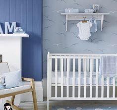 décoration chambre bébé chouette hibou arbre oiseau nichoir bleu ...