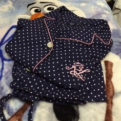 """RALPH LAUREN SIGNATURE MONOGRAMED PAJAMA SET!!!🌝 2-Piece-Navy w/White Polka Dots/ Pink Trim!!! Front Buttons, Pants are Drawstring! Excellent Condition! Med. Fits like a small. 100 percent Cotton.😊💥FIRM💥 Inseam 22"""" Ralph Lauren Intimates & Sleepwear Pajamas"""