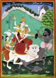 Goddess Durga Killing demon Mahisha, Kurnool, Deccan, late 18th century. c/o Dr. Daljeet Kaur.