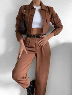 Glamouröse Outfits, Teen Fashion Outfits, Retro Outfits, Cute Casual Outfits, Look Fashion, Stylish Outfits, Korean Fashion, Fall Outfits, Brown Fashion