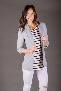 RubyClaire Boutique - Hooked On Class Blazer >GREY<, $42.00 (http://www.rubyclaireboutique.com/hooked-on-class-blazer-grey/)